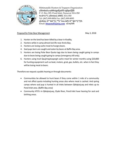 Submissions from Mittimatalik (Pond Inlet) HTO on Polar Bear Management Plan_INUK