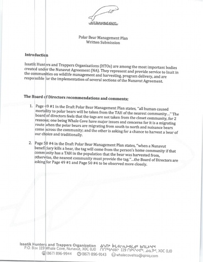 Issatik HTO Written Submission to Nov 2018 NWMB Public Hearing_Revised Polar Bear Co-Management Plan_ENG ONLY
