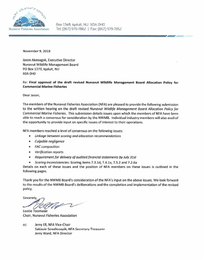 NFA Submission to NWMB written hearing Eng
